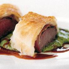 Lamb filo pea puree